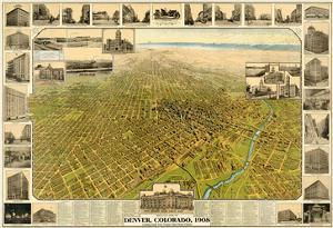 1908, Denver Bird's Eye View, Colorado, United States