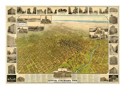 1908, Denver Bird's Eye View, Colorado, United States--Giclee Print
