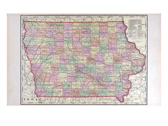 1908 Iowa State Map Iowa United States Giclee Print By Artcom - Us-map-1908