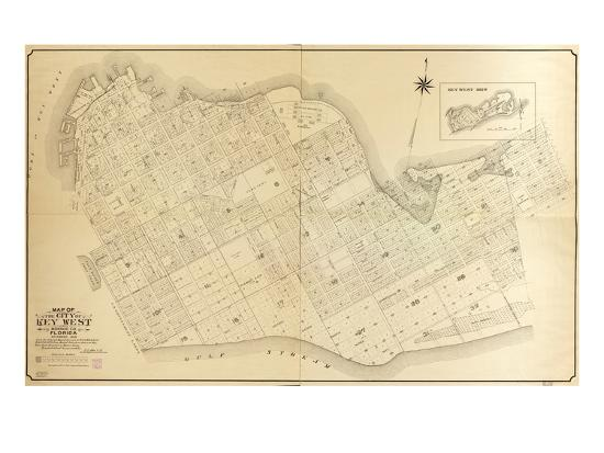 1908 Key West Wall Map From 1829 Maps And Surveys Florida United - Us-map-1908