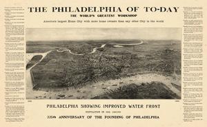 1908, Philadelphia Bird's Eye View, Pennsylvania, United States