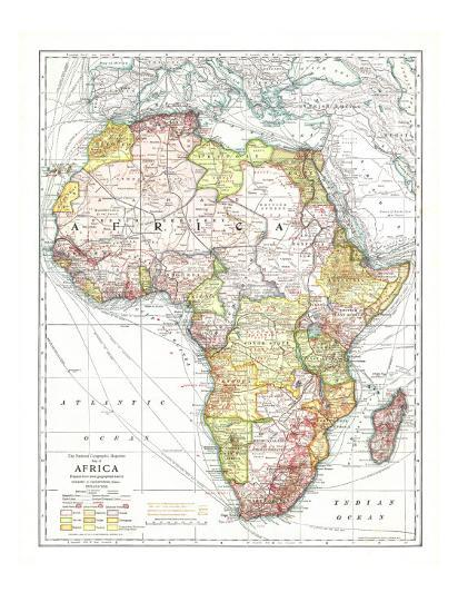 1909 Africa Map Art Print By National Geographic Maps Art Com