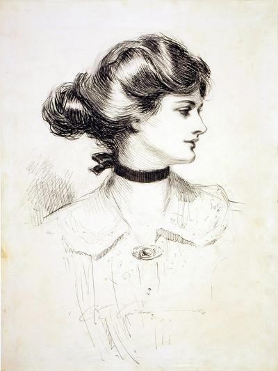 """1909 Drawing by Charles Dana Gibson, """"A Daughter of the South,"""" Shows a Classic Gibson Girl--Photo"""