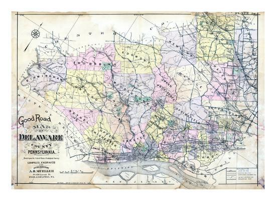 1910, Delaware County Road MAp, Pennsylvania, United States Giclee Print by  | Art.com