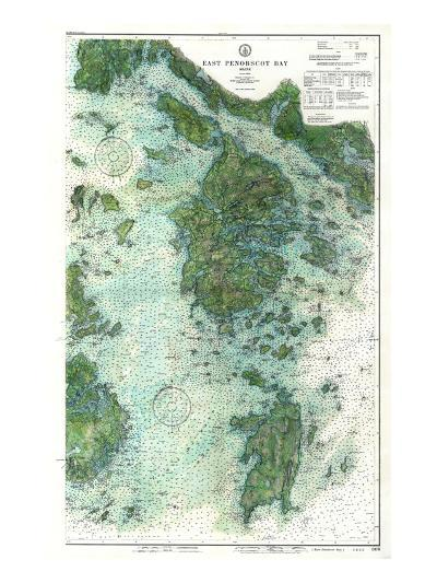 1910, East Penobscot Bay Chart with Background, Maine, Unit--Giclee Print