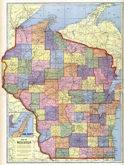 1910, Wisconsin State Map, Wisconsin, United States--Giclee Print