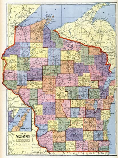 1910, Wisconsin State Map, Wisconsin, United States Giclee Print by on wisconsin world map, wisconsin indian map, wisconsin map of islands, wisconsin usa map,