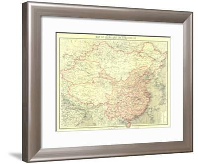 1912 China and Its Territories Map-National Geographic Maps-Framed Art Print