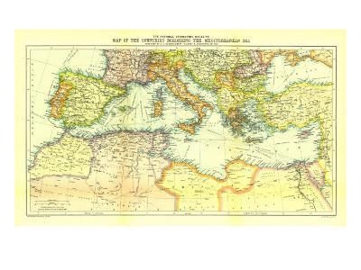 1912 Countries Bordering the Mediterranean Sea Map-National Geographic Maps-Art Print