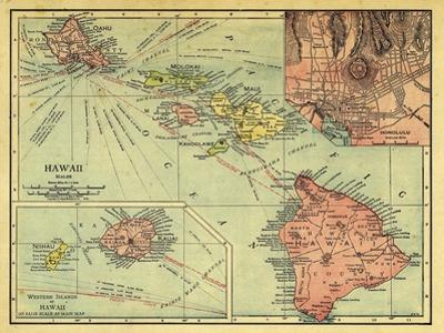 1912, Hawaii State Map, Hawaii, United States
