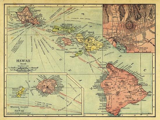 1912, Hawaii State Map, Hawaii, United States Giclee Print by | Art.com