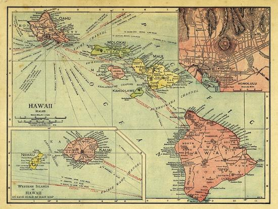 1912, Hawaii State Map, Hawaii, United States Giclee Print by | Art.com