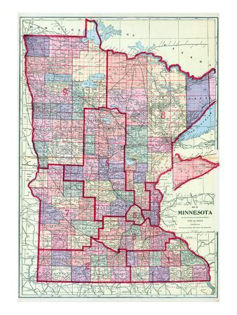 picture about Printable Map of Minnesota named 1912, Minnesota Region Map, Minnesota, United Says Giclee Print by means of