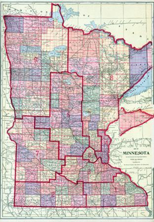 1912, Minnesota State Map, Minnesota, United States