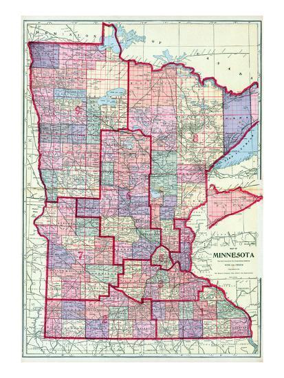 1912, Minnesota State Map, Minnesota, United States Giclee Print by ...