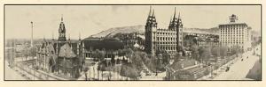 1912, Mormon Temple Grounds Salt Lake City Panorama Photo, Utah, United States