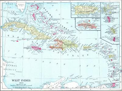 1913, Bahamas, The, Cuba, Dominican Republic, Jamaica, Puerto Rico, Central America, West Indies--Giclee Print
