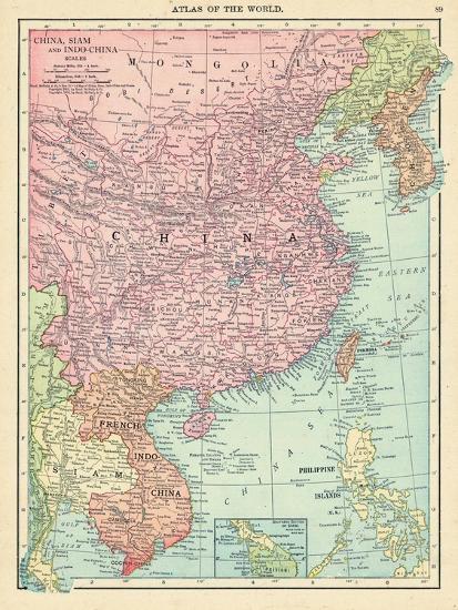 1913, Cambodia, China, Laos, Mongolia, North Korea, Philippines, South  Korea, Taiwan, Vietnam, Asia Giclee Print by | Art.com