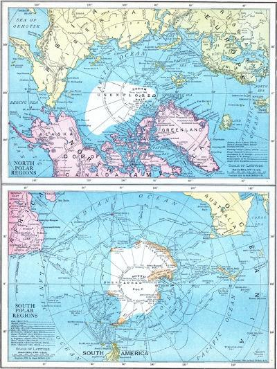 1913, North Pole, South Pole, North and South Polar Regions--Giclee Print