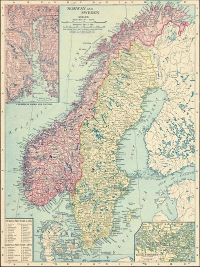 1913, Norway, Sweden, Europe, Norway and Sweden--Giclee Print