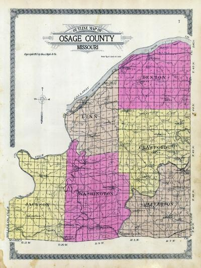 1913, Osage County Outline Map, Missouri, United States--Giclee Print