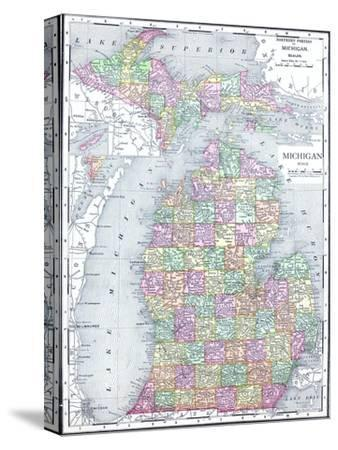 Maps of Michigan canvas artwork for sale Posters and Prints at Artcom
