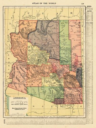 1914, Arizona State Map 1914, Arizona, United States--Giclee Print