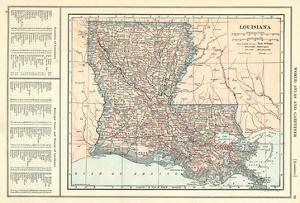 1914, Louisiana State Map 1908 Revised 1914, Louisiana, United States