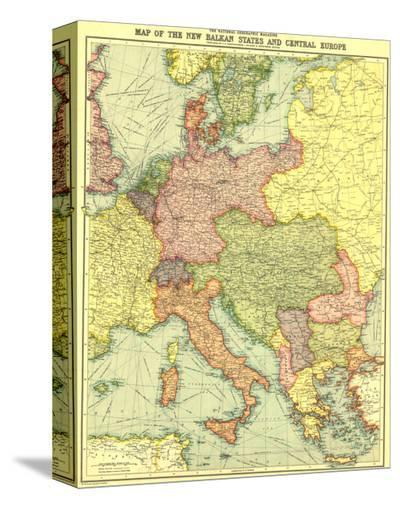 1914 New Balkan States and Central Europe Map-National Geographic Maps-Stretched Canvas Print