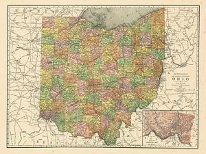 1914, State Map, Ohio, United States