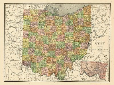 Ohio United States Map.1914 State Map Ohio United States Giclee Print By Art Com