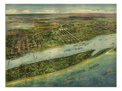 1915 Aerial View of West Palm Beach, North Palm Beach and Lake Worth, Florida--Photo
