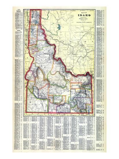 1915, Idaho State Map, Idaho, United States Giclee Print by   Art.com