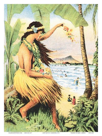 1915 Mid-Pacific Carnival - Honolulu, Hawai?i - Detail of Poster-Pacifica Island Art-Art Print
