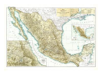 1916 Mexico Map-National Geographic Maps-Art Print