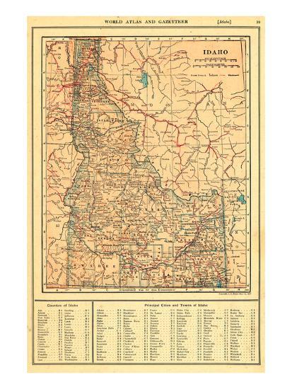 1917, Idaho State Map 1917, Idaho, United States Giclee Print by   Art.com