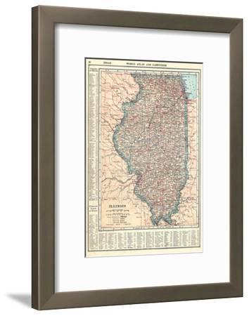 1917, Illinois State Map 1917, Illinois, United States