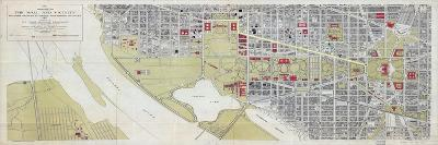 1917, Washington D.C. 1917c Public Buildings Wall Map, District of Columbia, United States--Giclee Print
