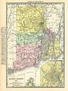191x, Rhode Island State Map With Providence Inset, Rhode Island, United States
