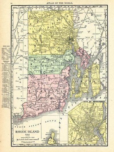 191x, Rhode Island State Map With Providence Inset, Rhode Island, United States--Giclee Print