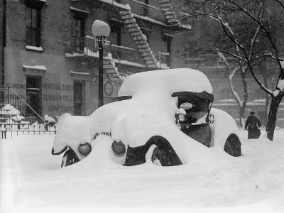 1920's Model Car Is Covered with Snow after a January 1922 Blizzard in Washington, D.C--Photo