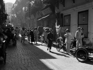 1920s-1930s Street Scene Rickshaws Waiting for Hire Hong Kong China