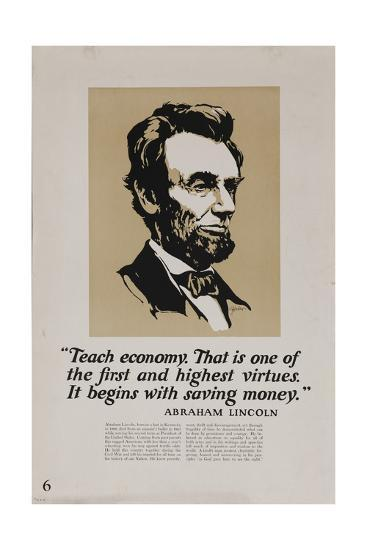 1920s American Banking Poster, Abe Lincoln Teach Economy--Giclee Print