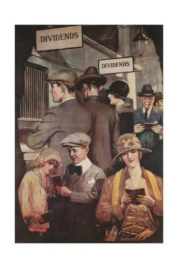 1920s American Banking Poster, Dividends--Giclee Print