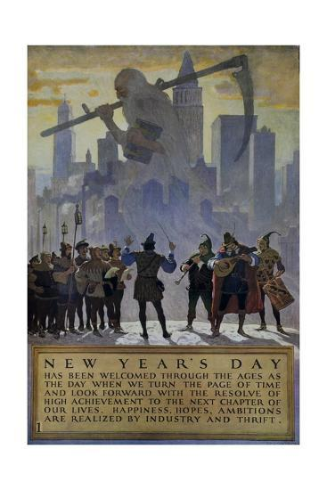 1920s American Banking Poster, New Year's Day--Giclee Print