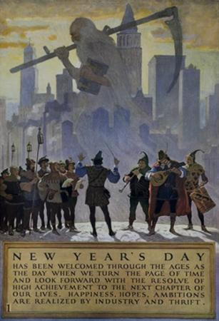 1920s American Banking Poster, New Year's Day