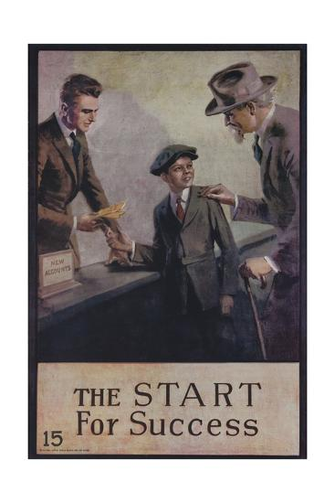 1920s American Banking Poster, the Start for Success--Giclee Print