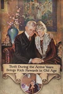 1920s American Banking Poster, Thrift During Active Years