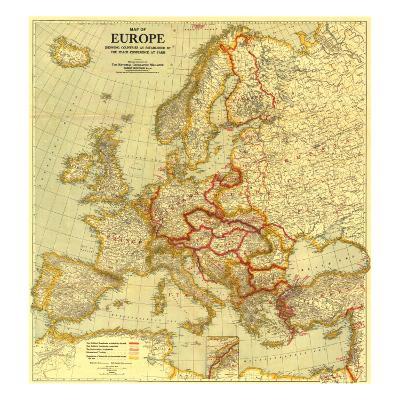 1921 Map of Europe Showing the Countries Established by the Peace Conference of Paris-National Geographic Maps-Art Print