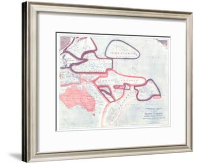 1921 Sovereignty and Mandate Boundary Lines of the Islands of the Pacific-National Geographic Maps-Framed Art Print